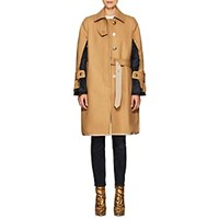 Sacai Wool Melton Deconstructed Topcoat Beige Navy Beige Navy