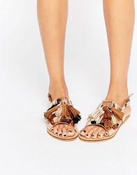 Glamorous Gold Multi Tassle Flat Sandals Gold