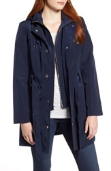 London Fog Hooded Trench Coat Navy