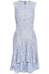 Lover Woman Braid Trimmed Corded Lace Mini Dress Light Blue