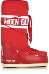 Moon Boot Pique Shell And Faux Leather Boots Red