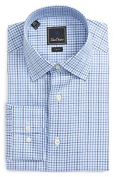 David Donahue Men's Big And Tall Trim Fit Check Dress Shirt Sky Blue