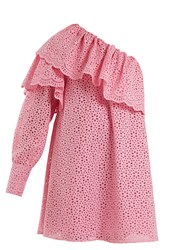 Msgm One Shoulder Broderie Anglaise Cotton Dress Pink