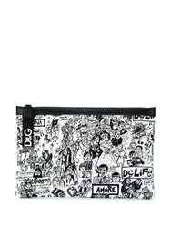 Dolce And Gabbana Printed Graffiti Pouch Black