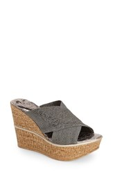 Love And Liberty Women's 'Ruth' Wedge Slide Sandal Pewter Fabric