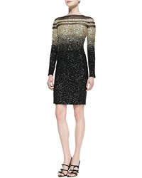 Pamella Roland Long Sleeve Ombre Sequined Cocktail Dress Black Gold Black Gold Ombre