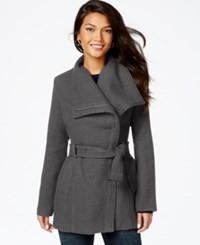 Madden Girl Madden Girl Textured Asymmetrical Walker Coat Charcoal