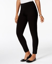 Style And Co. Petite Lace Panel Knit Ankle Length Leggings Only At Macy's
