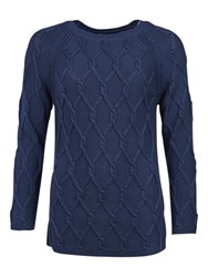 Barbour Diamond Cable Knit Jumper Navy