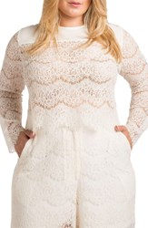 Standards And Practices Plus Size Women's Sydney Lace Skimmer Top White