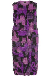 Fendi Fringed Leather Dress Purple