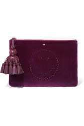 Anya Hindmarch Georgiana Leather Trimmed Perforated Velvet Clutch Burgundy