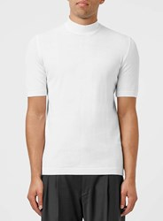 Topman Premium Off White Pima Cotton Turtle Neck Knitted T Shirt Cream