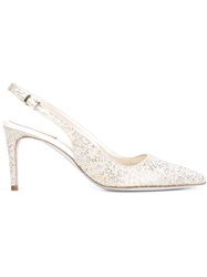 Rene Caovilla Embellished Slingback Pumps Nude And Neutrals