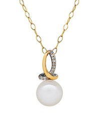 Lord And Taylor 8 8Mm White Pearl Diamond 14K Yellow Gold Sterling Silver Pendant Necklace