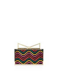 Sara Battaglia Lady Me Waves Clutch Black Wave Multi Gold