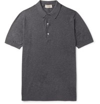 John Smedley Haddon Cotton And Cashmere Blend Polo Shirt Charcoal