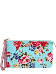 Dolce And Gabbana Roses Dauphine Embossed Leather Pouch