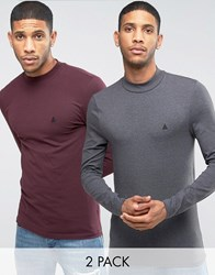 Asos Muscle Long Sleeve T Shirt With Turtle Neck And Logo 2 Pack Oxblood Charcoal Multi