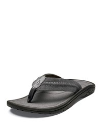 Olukai Hokua Mesh Faux Leather Flip Flop Sandals Clay Charcoal Clay Charcoal