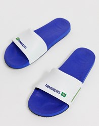 Havaianas Brasil Sliders In Marine Blue