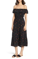 Soprano Cherry Print Off The Shoulder Maxi Dress Black Red