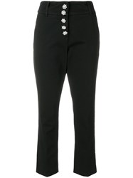 Dondup Cropped High Waisted Trousers Black