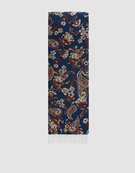 3.1 Phillip Lim Floral Chain Accented Scarf Navy Brown