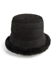 Surell Shearling Cloche Hat Black