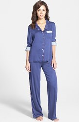Women's Splendid Piped Notch Collar Pajamas Blue Geo