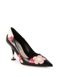 Prada Flower Leather Point Toe Pumps Black Pink