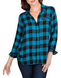 Lucky Brand Checkered Long Sleeve Shirt Turquoise Multi