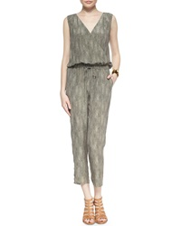 Eileen Fisher Fisher Project Sleeveless Silk Animal Print Jumpsuit