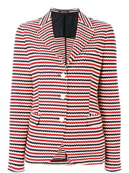 Tagliatore Stripe Blazer Women Cotton Cupro 40 Blue