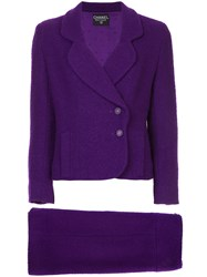 Chanel Vintage Fitted Skirt Suit Pink And Purple