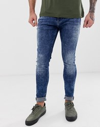 Blend Of America Lunar Super Skinny Fit Distressed Jeans In Mid Blue Wash