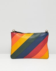Warehouse Leather Cross Body Bag In Rainbow Stripe Multi