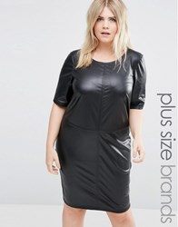 Junarose Faux Leather Shift Dress Black