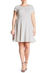 Taylor Printed Flare Dress Plus Size White