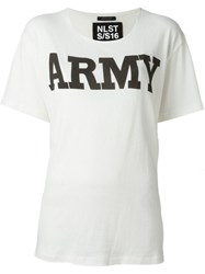 Nlst 'Army' Print T Shirt White