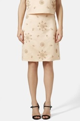 Topshop Embellished Satin Pencil Skirt Beige