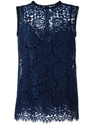 Dolce And Gabbana Sleeveless Lace Blouse Blue