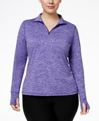 Ideology Plus Size Essential Quarter Zip Top Only At Macy's Blazing Purple