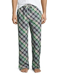 Psycho Bunny Plaid Drawstring Lounge Pants Navy Green