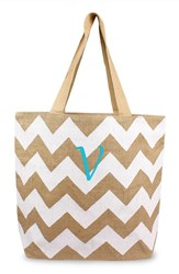 Cathy's Concepts Personalized Chevron Print Jute Tote White White Natural V