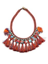 Tory Burch Jeweled Macrame Statement Necklace Red