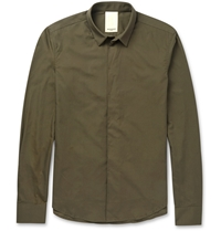 Wooyoungmi Slim Fit Panelled Collar Cotton Shirt Green