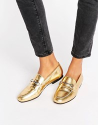 Asos Movement Leather Loafers Gold