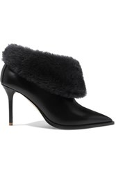 Malone Souliers Tomi 85 Shearling Trimmed Leather Ankle Boots Black