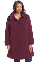 Plus Size Women's Gallery Ruched Collar A Line Raincoat With Removable Liner